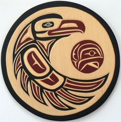 Eagle - Acrylic on cedar by Harvey John. Haida Kunst, Inuit Kunst, Arte Inuit, Arte Haida, Haida Art, Inuit Art, Hahn Tattoo, 1 Tattoo, Native Canadian