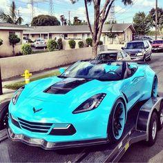Turquoise Corvette Convertible  car http://lamborghinipics.blogspot.com/