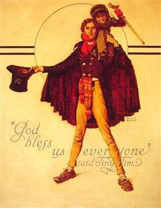 Tiny Tim and Bob Cratchit - Norman Rockwell