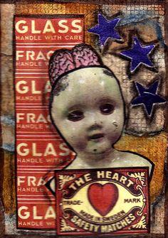 The Heart Original Art Mixed Media Collage ACEO vintage Doll Venecia Outsider  #OutsiderArt