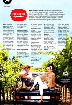Interview with Kate & Andy Spade about Cocktails, Snacks and Dinner Parties