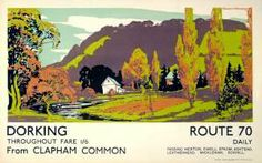 1930s bus poster advertising Dorking. On sale at Calliope as a wooden postcard or display board.