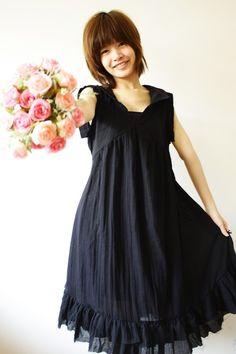 Peter pan collar Simply Black Cotton Dress by LadyTA on Etsy, $36.00