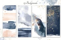 Watercolor collection by Lisima on Navy Blue - Watercolor collection This set include: + 18 PNG - floral arrangements + 23 backgrounds - 2 JPEG and 21 PNG + 19 PNG - gold Watercolor Illustration, Graphic Illustration, Simple Illustration, Flower Letters, Graphic Design Inspiration, Pattern Wallpaper, Drawings, Creative, Artwork