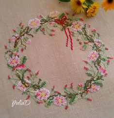 Yulia Dolbnya, beautifully stitched flower wreath.
