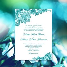Vintage Lace Wedding Invitations Teal Printable Templates Word.doc Instant Download Order Any Color DIY You Edit and Print by WeddingTemplates on Etsy https://www.etsy.com/listing/231695274/vintage-lace-wedding-invitations-teal