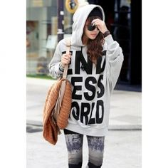 $10.09 Fashionable Letter Print Batwing Sleeve Cotton Hoodie For Women