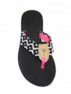 109916829457 Daisy Dot Fabric Sandal with Bright Pink Toe Ribbon