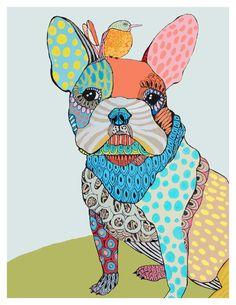 CUSTOM PET PORTRAIT. $45.00, via Etsy.  Just love this artist's colourful pet portraits.