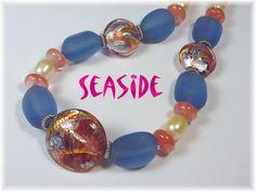 Seaside Lampwork Art Glass Periwinkle Sea Glass Rutilated Quartz Pearl Sterling Silver Bead Necklace $89 Also see - www.FindMeTreasure.com