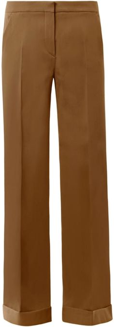 MaxMara's tobacco-brown Nicchia trousers carry notions of 70's nostalgia. A wide-leg design gives the illusion of enviably endless pins when teamed with towering heels.