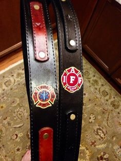 Custom Leather Firefighter Radio Strap by FireFighterShields