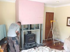 Building A False Chimney Breast To House The Stove Box External Pictures Wood Stove Surround, Wood Stove Hearth, Wood Burner Fireplace, Build A Fireplace, Fireplace Design, Fire Surround, Fireplace Mantles, Log Burner Living Room, Living Room With Fireplace