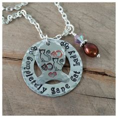 Hand Stamped Completely Sane Cat Lady Cat by CatintheMoonCreation