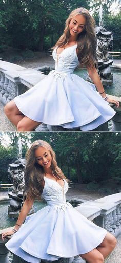 Cute v neck lace short prom dress, homecoming dress – trendty #homecomingdressesshort