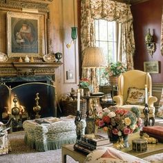 What a beautiful antique-filled living room. Love the pink, pale yellow, and cream tones.