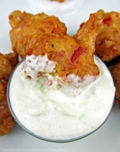Grab a can of Bush's Garbanzo Beans and make these amazing Chickpea Fritters with Yogurt Dipping Sauce for a game day appetizer! Your guests will be rooting for them all game long!