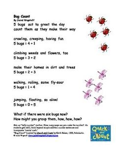 FREE!  Here are some samples of original, fun, math poems and songs appropriate for grades K, 1, and 2.  Fun for demonstrating concrete strategies ...