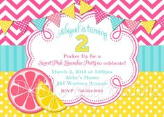 PINK LEMONADE party invitation  YOU Print by PrettyPartyCreations, $11.50
