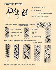 My Vintage Mending: The Gingham Book of Embroidery Part II Hand Work Embroidery, Ribbon Embroidery, Cross Stitch Embroidery, Embroidery Patterns, Japanese Embroidery, Chicken Scratch Patterns, Chicken Scratch Embroidery, Quilt Stitching, Cross Stitching