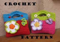 Crochet  Bag / Purse with Large Flower and Butterfly, Crochet Pattern PDF,Easy, Great for Beginners,  Pattern No. 10. $5.00, via Etsy.