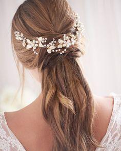 Wedding Hair Half, Hairdo Wedding, Bridal Hair Updo, Wedding Hairstyles With Veil, Bridal Hair Vine, Wedding Hair Pieces, Wedding Hair And Makeup, Bridal Hair Half Up With Veil, Veil Hairstyles