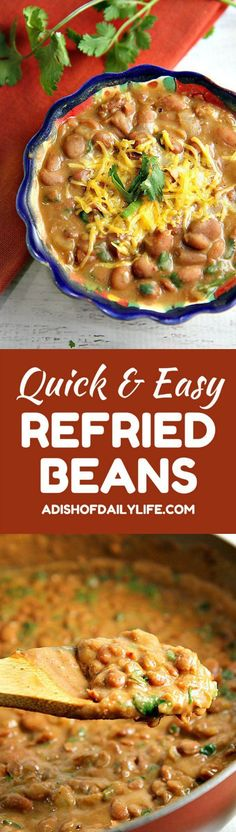 You'll never eat refried beans from a can again after trying this easy homemade refried beans recipe! They only take 15 minutes to make, and they're so versatile...use them as a side dish, as a base for burritos, or in layered bean dip or loaded nachos as