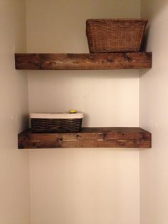 DIY Rustic shelves above toilet