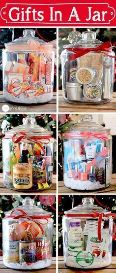 """Think outside the gift basket """"box!"""" A simple, creative, and inexpensive gift idea for any occasion! #giftsinajar Jar Gifts Gifts in a Jar"""