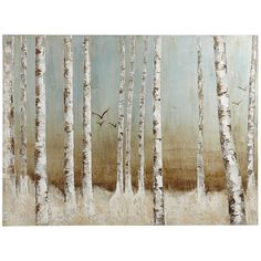 Birds in Birch Trees Art