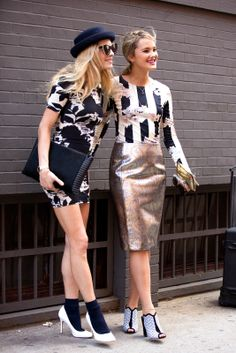 70 Next-Level NYFW Street-Style Snaps  #refinery29  http://www.refinery29.com/52992#slide53  BFFs Chelsea Leyland and Kyleigh Kuhn coordinate their outfits.