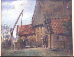 L. J. Bruna, 1860. Farmhouse Lonneker, waterwell.      Twentse boerderij,vakwerkbouw,met bovenkamer te Lonneker (bij bakkerij Robers).Zandstenen put met wip.Boerin bij de put,boer met pijp in de geopende voordeur of bovenduure.