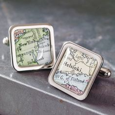 Personalised Square Map Location Cufflinks by ELLIE ELLIE