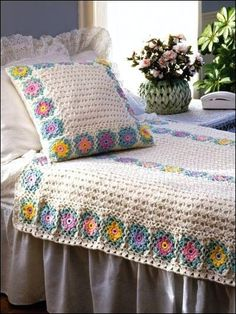 Crochet Afghan Patterns, Crochet Throw Patterns, Crochet e-Patterns - Page 5 Crochet Bedspread, Crochet Quilt, Crochet Cushions, Crochet Pillow, Crochet Home, Crochet Granny, Crochet Crafts, Knit Crochet, Crochet Blankets