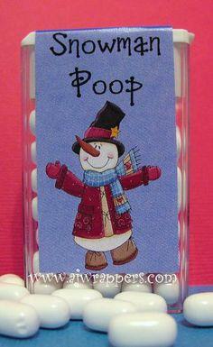 Snowman Poop Tic Tac Wrapper 2 Snowman Poop, Snowman Crafts, Snowmen, Fun Crafts, Paper Crafts, Christmas Deco, Christmas Snowman, Christmas Crafts, Printable Crafts