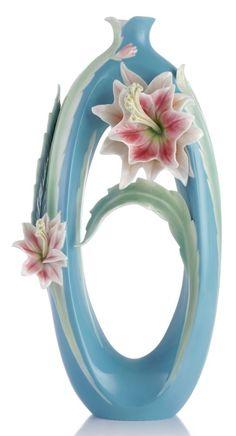 FZ03309 Franz porcelain eager hope Orchid cactus floral design sculptured vase