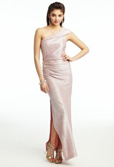Metallic Knit One Shoulder Prom Dress from Camille La Vie and Group USA
