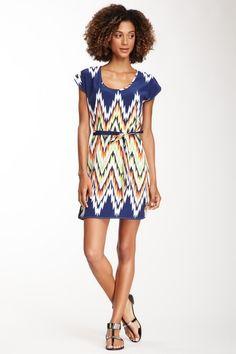Peach Love Cream California Zigzag Short Sleeve Sash Dress on HauteLook