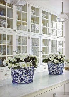 Who doesn't love blue and white splatter ware in a bright white butler pantry? OMG!