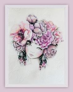 Fine art print One Sonny Day. Australian kids and children's art. Soft pink flower crown, lilac floral headdress, delicate antique lace embossing. Perfect for wall art, little girls bedroom deco, children kids gifts, christening, baby shower, christmas present. Water colour, painting, quote