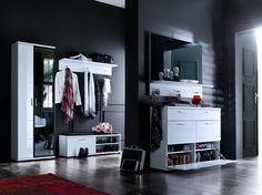 Schuhschrank Rubin II Hochglanz Weiß Klare moderne Möbellinie Passend zur Möbelserie Rubin 1 x Schuhschrank mit 4 Türklappen aus Holz und 1 Schubkasten Maße:... #flur #garderobe