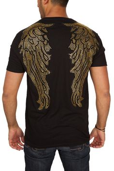 Rawyalty Men's Gold Logo Bling Black T-Shirt | Products, Gold logo ...