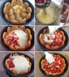 charlota-fresas-paso-a-paso Sweet Desserts, Healthy Desserts, Sweet Recipes, Cake Recipes, Dessert Recipes, Cream Cheese Spreads, Sweet Cakes, Love Food, Bakery