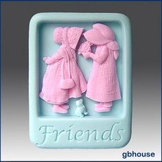 Product description:  Material: Flexible Silicone Mold  Name: 2D Silicone Soap/Polymer Clay/Cold Porcelain Clay/Plaster Mold - Friends - free shipping -