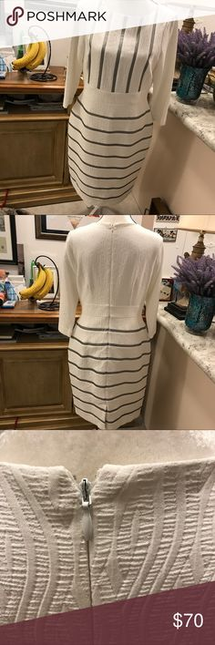 """Antonio Melani-beautiful!⚜️⚜️ White dress, with silver (faux leather) stripes. New Condition. Worn once to a church function.                                            Waist 16"""" across, length 39"""" long 👗👗size 10.                     3/4 sleeves, Fully lined.  Purchased at Dillard's. ANTONIO MELANI Dresses"""