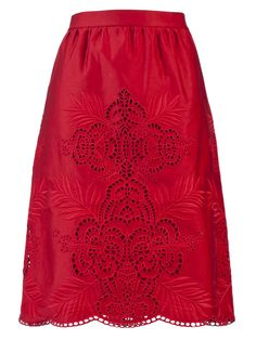 Cotton Hawaiian embroidered skirt in cherry from Stella McCartney. This cotton skirt features a scallop hem, embroidery and cut-out detail, and gathers along the waistline. Has two hidden side slit pockets, cotton slip, and side zip closure. Red Skirts, A Line Skirts, Modest Fashion, Skirt Fashion, Style Fashion, Skirt Outfits, Cute Outfits, Stella Mccartney, Hawaiian Skirt
