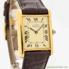 1990's Cartier Must de Tank Standard Men's Size 18k Yellow Gold Plated over Sterling Silver watch with Original Gold/Champagne Dial with Black Roman Numerals. Suitable for a Man or a Woman. Triple Sig - watches, nixon, pocket, gold, g shock, breitling watch *ad