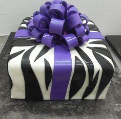 Calumet Bakery Zebra print present box cake Birthday Bash, Birthday Cakes, Calumet Bakery, Cupcake Cakes, Cupcakes, Box Cake, Zebra Print, Sweet 16, African Fashion