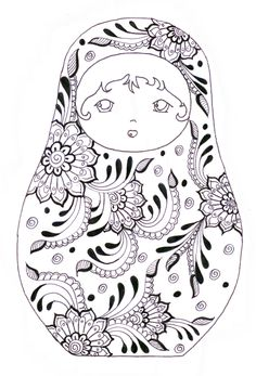 Discover our gallery of coloring pages inspired by Russian dolls. They are also called Matryoshka. Did you know that this decorative object appeared in the late century and was inspired by dolls from Honshu, the main . Adult Coloring Pages, Printable Coloring Pages, Coloring Sheets, Coloring Books, Free Coloring, Kids Coloring, Matryoshka Doll, Digi Stamps, Doodle Art