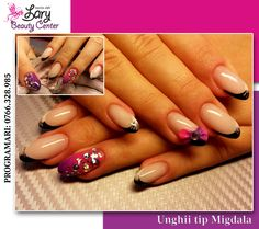 french in two colors and acryl flowers http://www.larybeautycenter.ro/servicii/unghii-cu-gel-sau-acryl